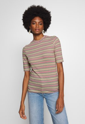OVERLONG SHORT SLEEVES STRIPE SLIM FIT - Triko s potiskem - multi