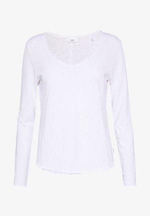 V NECK  - Long sleeved top - white
