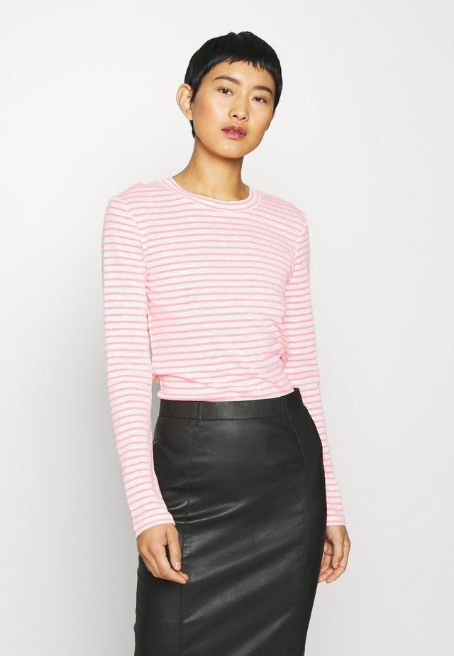 LONGSLEEVE SLIM FIT STRIPE - Långärmad tröja - light grey/pink