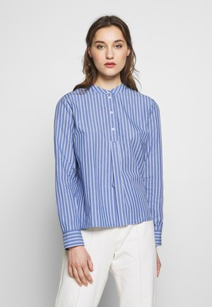 BLOUSE HALF BUTTON PLACKET LONGSLEEVE - Button-down blouse - blue