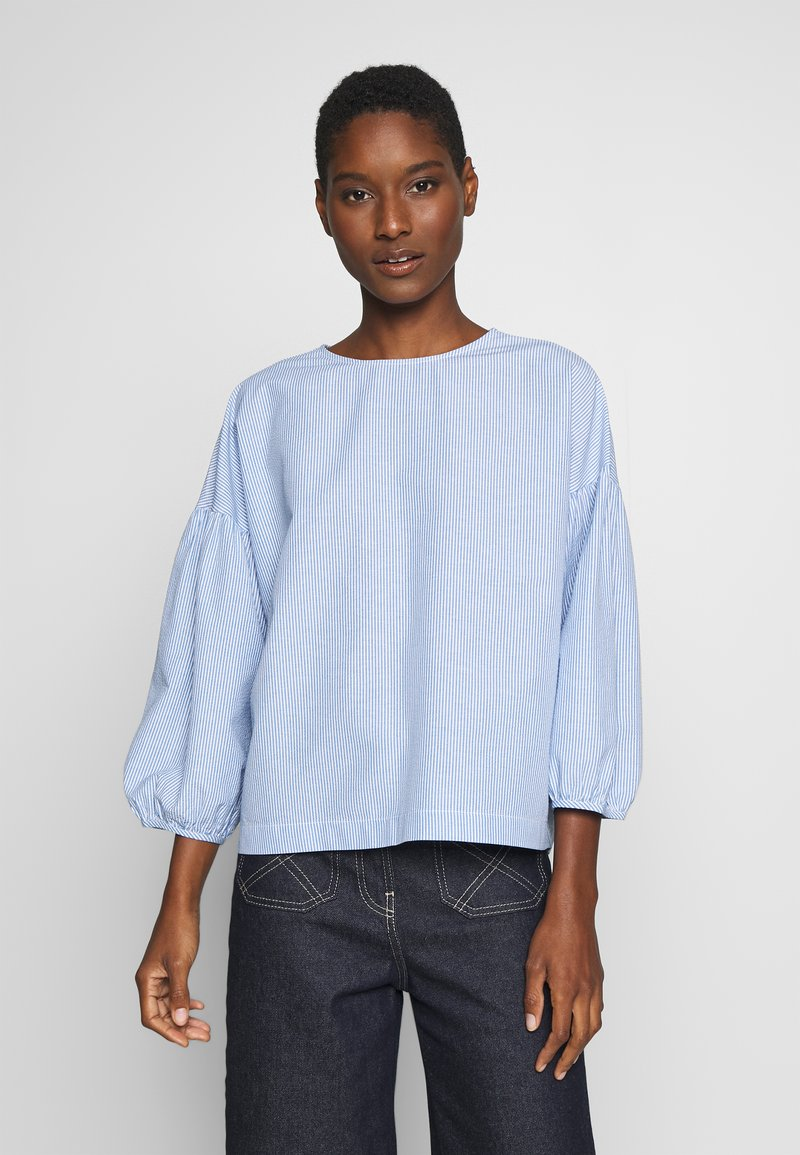Marc O'Polo DENIM - STRIPED SLEEVES - Bluser - bleached blue