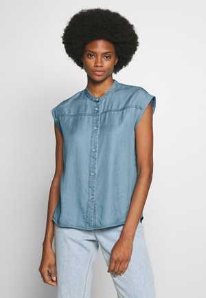 SHORT SLEEVE STAND COLLAR - Blouse - blue