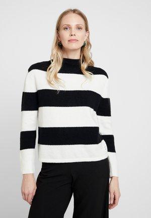 LONG SLEEVE WITH OVERLAP SHOULDER - Pullover - black/white