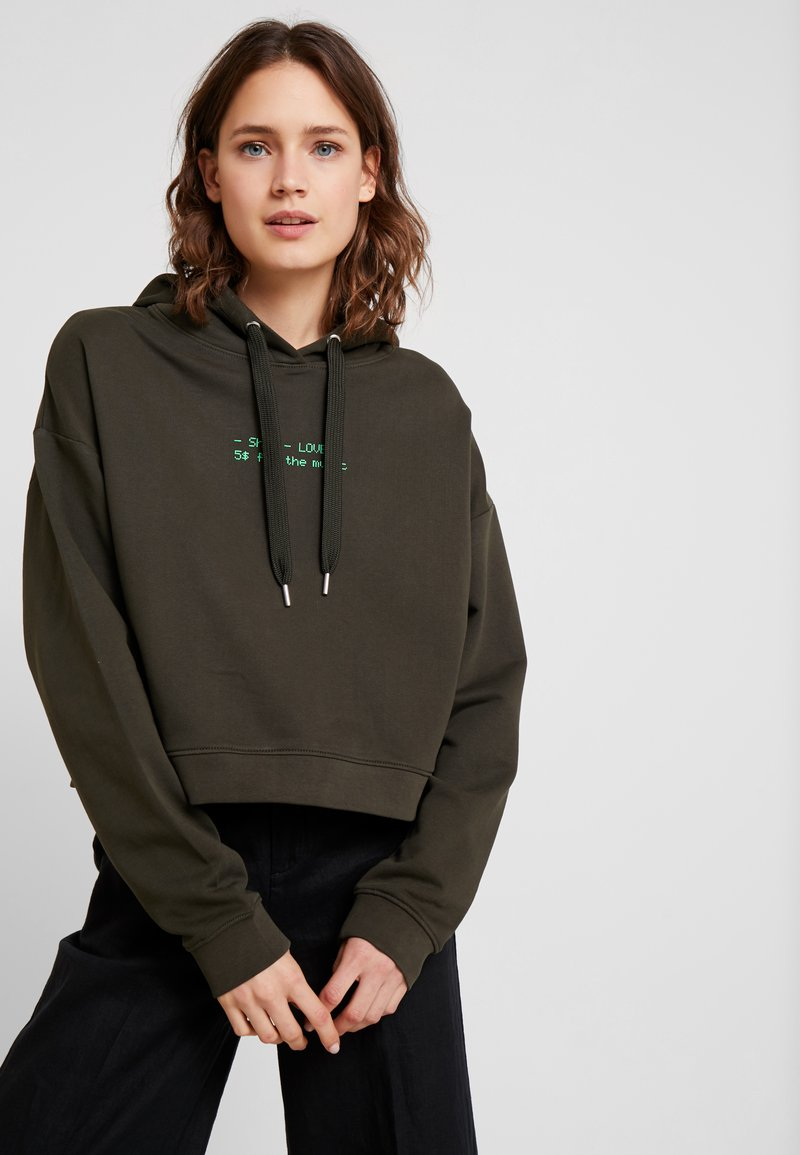 Marc O'Polo DENIM - HOODIE CROPPED BOXY - Kapuzenpullover - action green