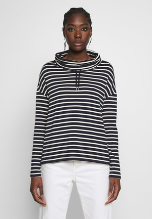 TUBE NECK STRIPED RELAX FIT DRAWSTRING DETAIL - Langarmshirt - dark blue/white