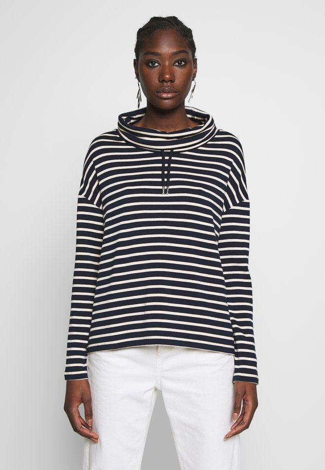 TUBE NECK STRIPED RELAX FIT DRAWSTRING DETAIL - Long sleeved top - dark blue/white