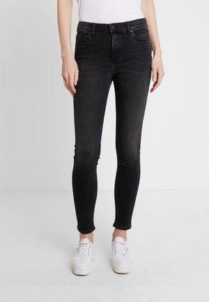 KAJ HIGH WAIST - Jeans Skinny Fit - noir fade anthracite wash