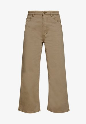 TROUSERS HIGH WAIST STRAIGHT WIDE LEG - Trousers - bleached olive