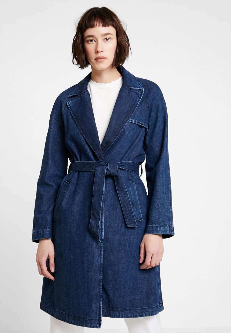Marc O'Polo DENIM - JACKET STYLE LONG - Classic coat - drapy salt/pepper wash