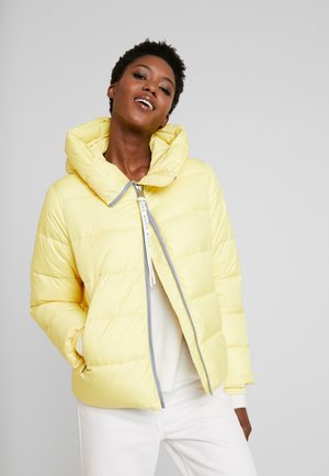 PUFFER CROPPED BIG HOOD - Winter jacket - yellow cream