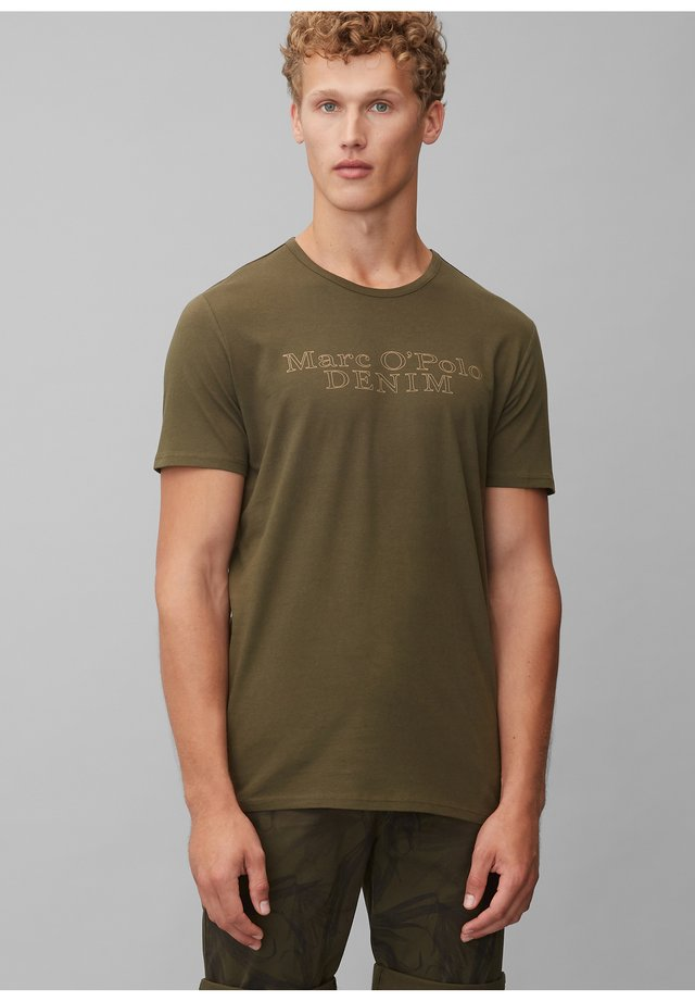 Print T-shirt - palm leaf green