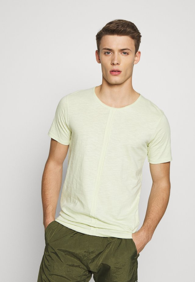 RAW NECK SLUB TEE CURVED - T-paita - dusty green
