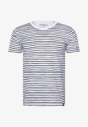 PRINTED STRIPE TEE  - T-shirt print - navy