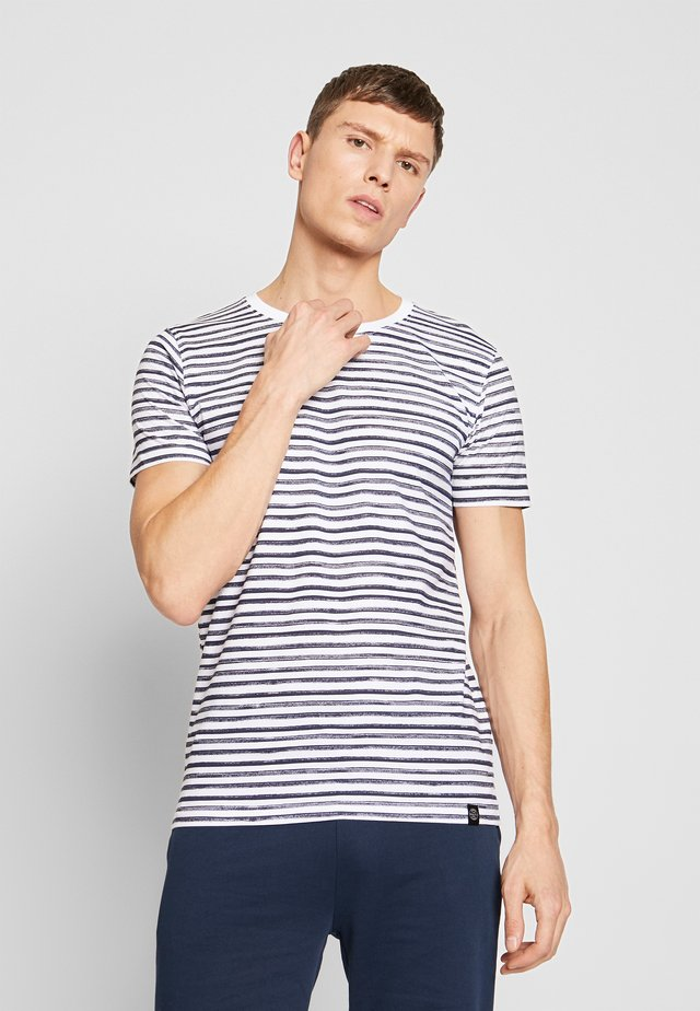 PRINTED STRIPE TEE  - Print T-shirt - navy