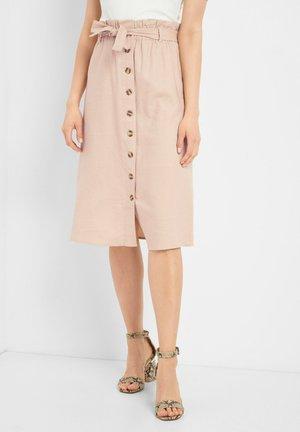 MIT KNOPFLEISTE - A-line skirt - beigerosa
