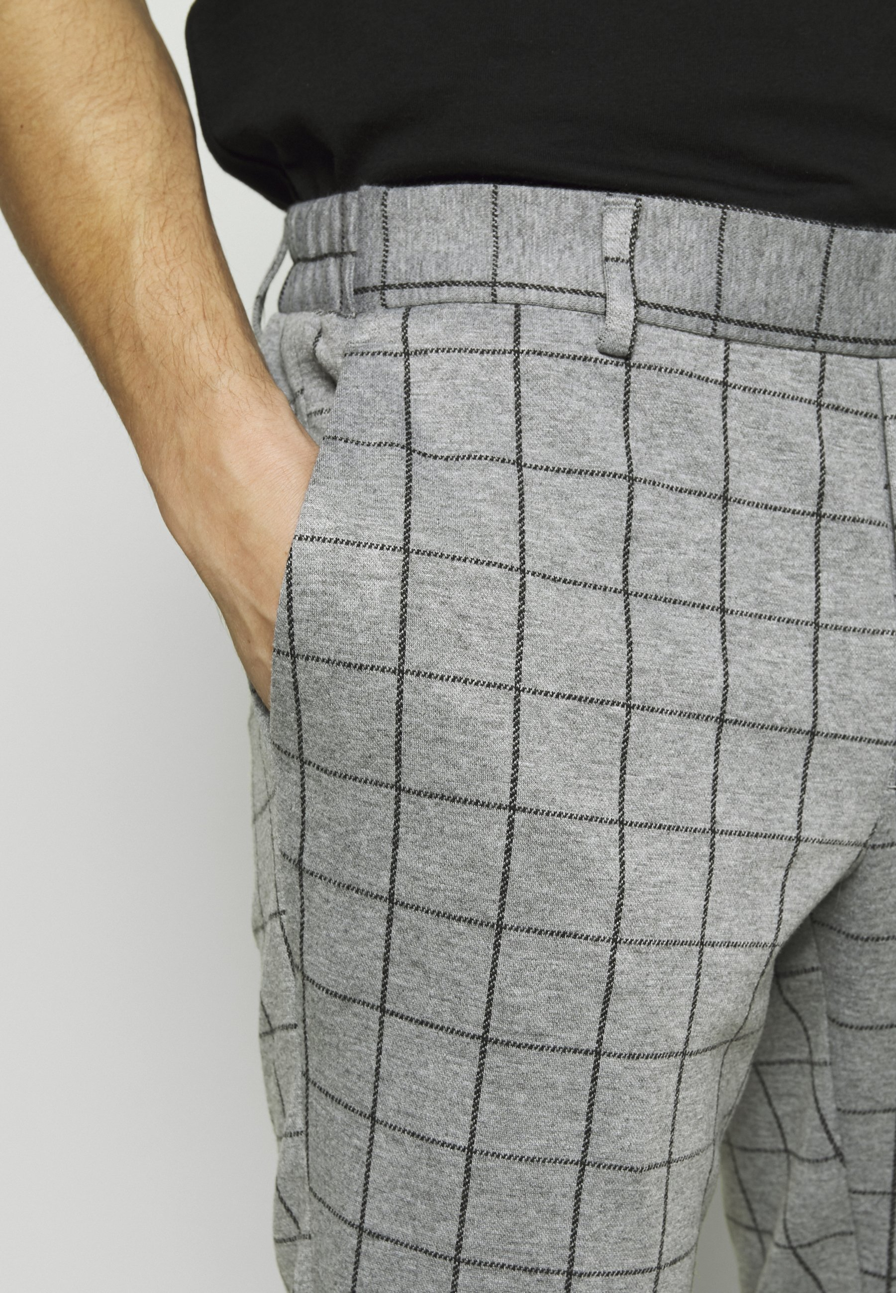 Only & Sons ONSELIAS GRID PANTS - Trousers - light grey melange