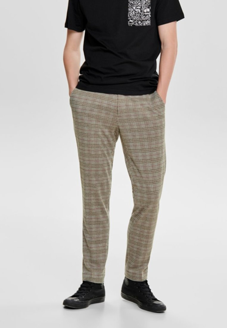 Only & Sons - ONSCARL CHECK - Stoffhose - light brown