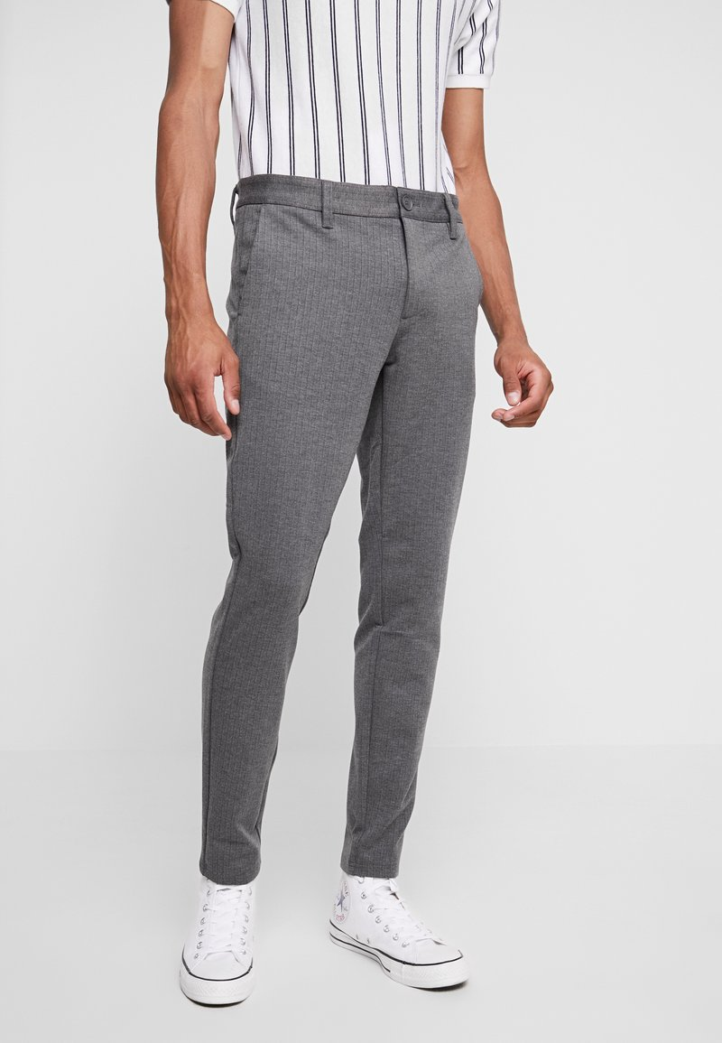 Only & Sons - ONSMARK PANT STRIPE - Trousers - medium grey melange