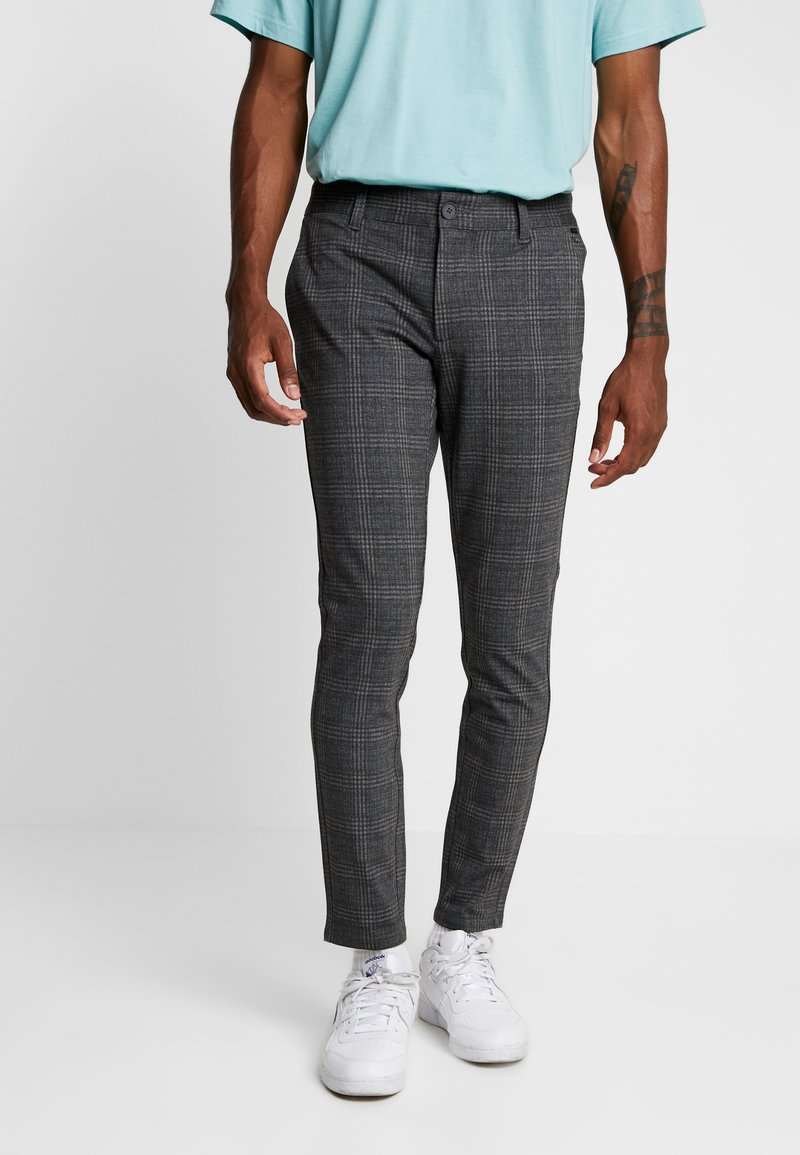 Only & Sons - ONSMARK CHECK PANTS - Trousers - dark grey melange