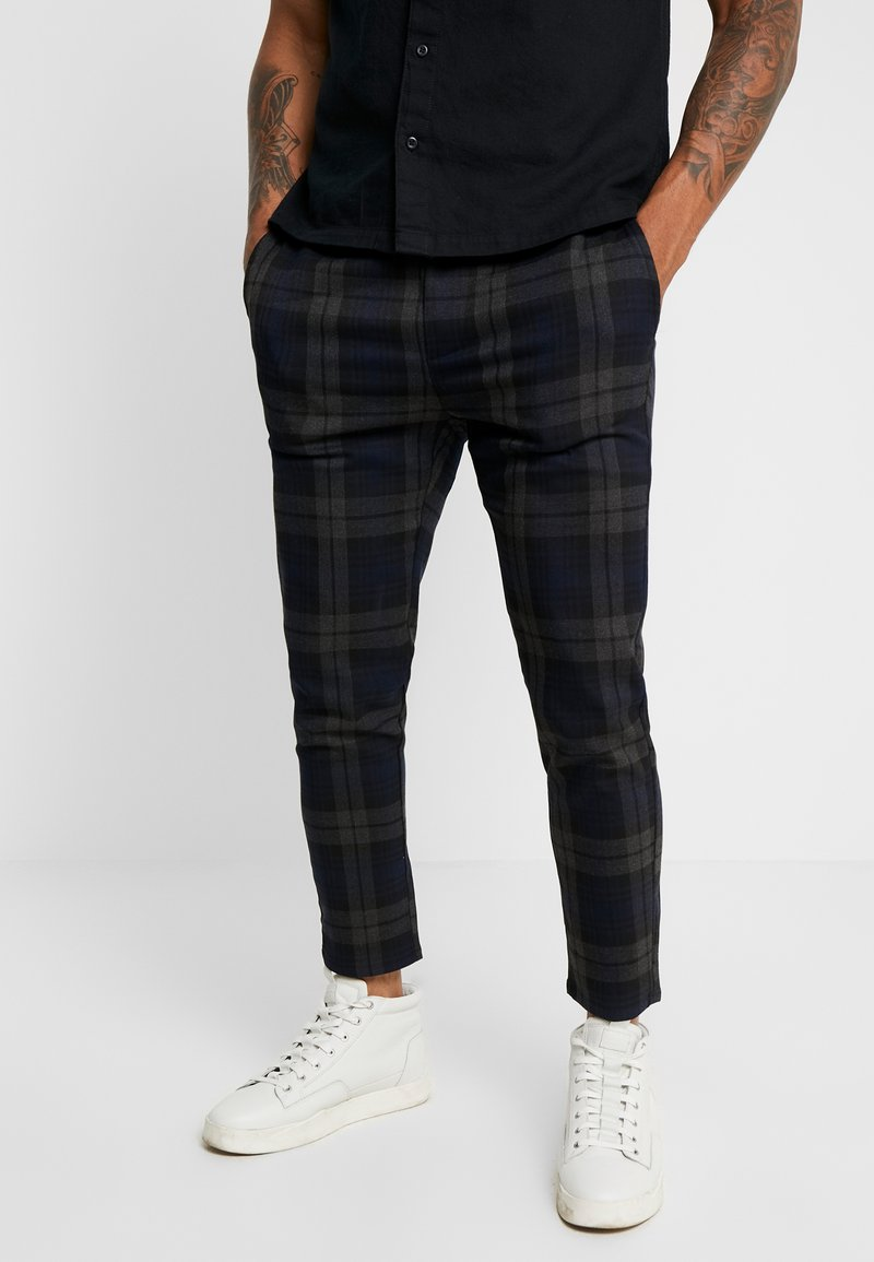 Only & Sons - ONSLINUS CHECK PANT - Stoffhose - dark navy