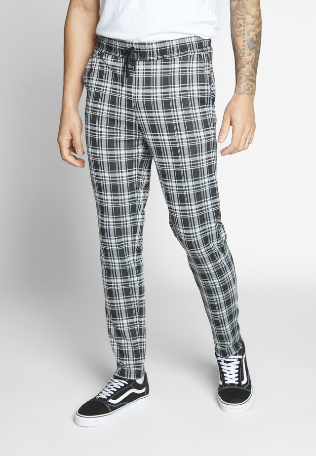 ONSDESMOND CHECK PANTS - Kangashousut - black/white