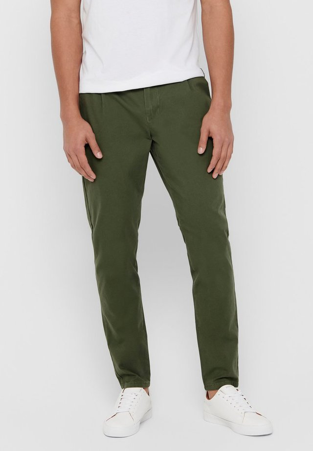 EINFARBIGE - Chinos - olive night