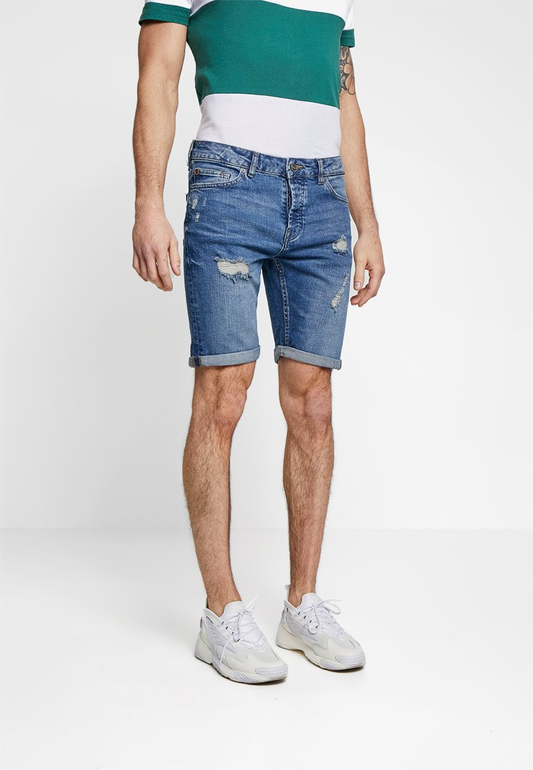 Only & Sons - ONSPLY DAMAGE WASHED - Jeans Shorts - blue denim