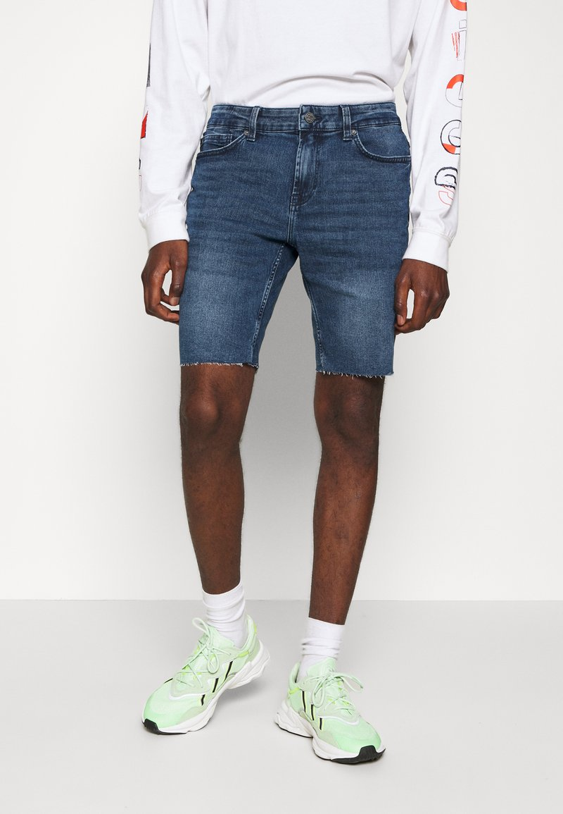 Only & Sons - ONSPLY ZIP RAW HEM  - Shorts vaqueros - blue denim