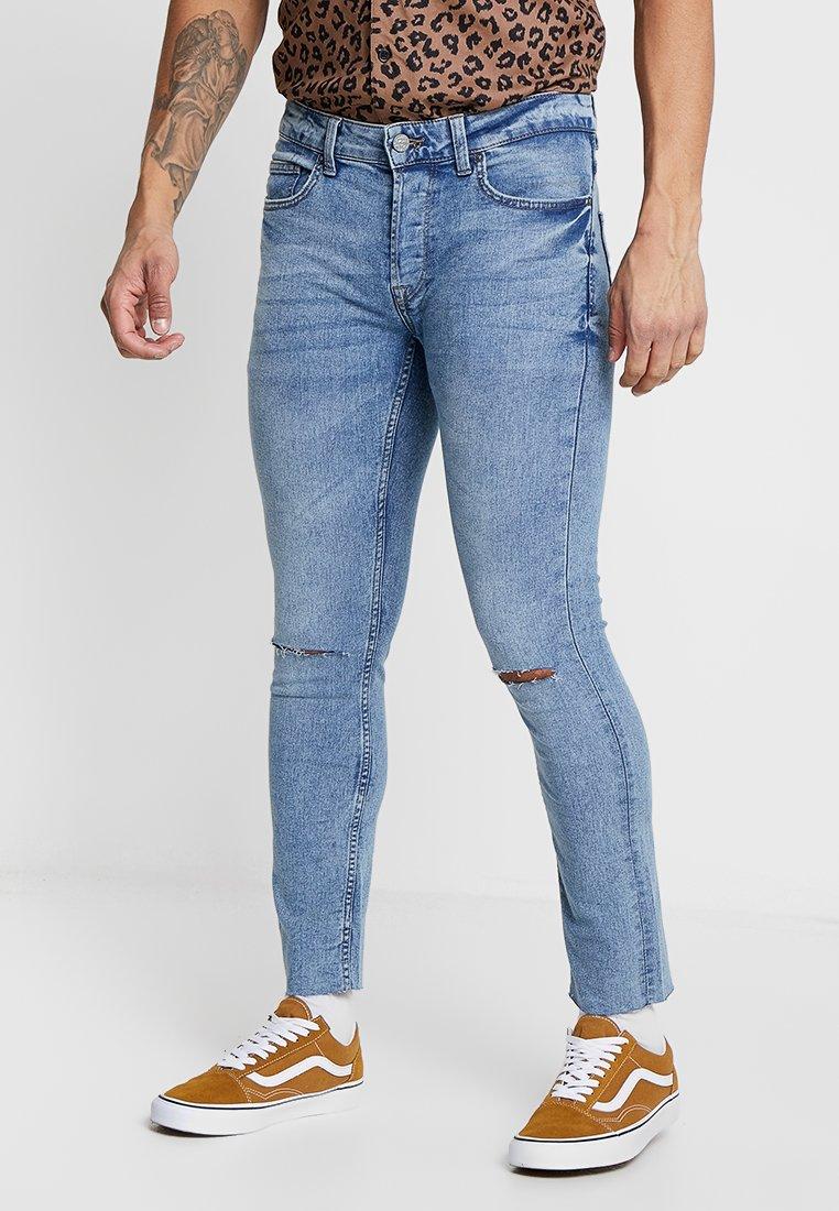 Only & Sons - ONSWARP CROP KNEE CUT - Jeans Skinny Fit - blue denim