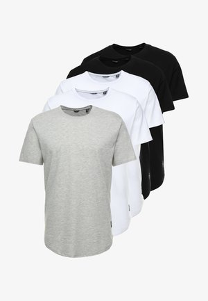 ONSMATT  5-PACK - T-shirt - bas - white/black