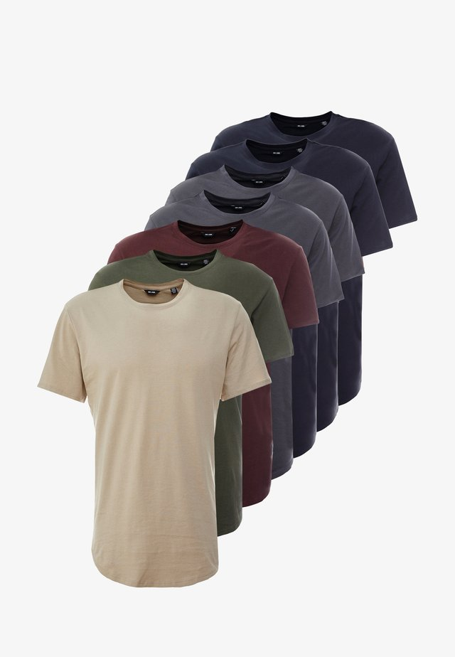 ONSMATT LONGY 7 PACK - T-shirt - bas - dark blue/bordeaux/khaki