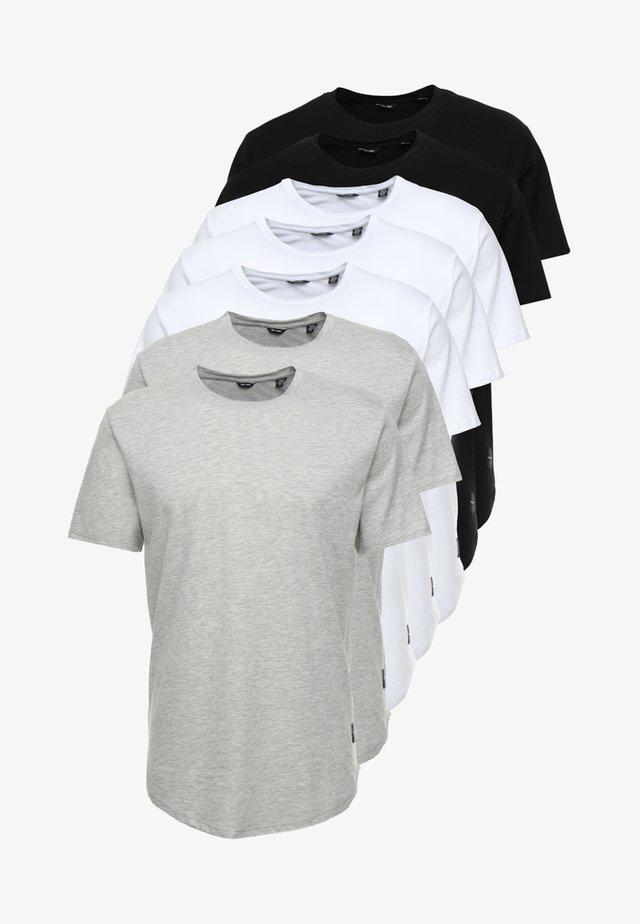 ONSMATT LONGY 7 PACK - Basic T-shirt - white/black/light grey melange