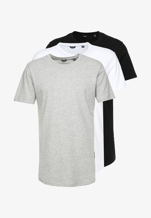 3PACK - T-shirt basic - black/white/grey