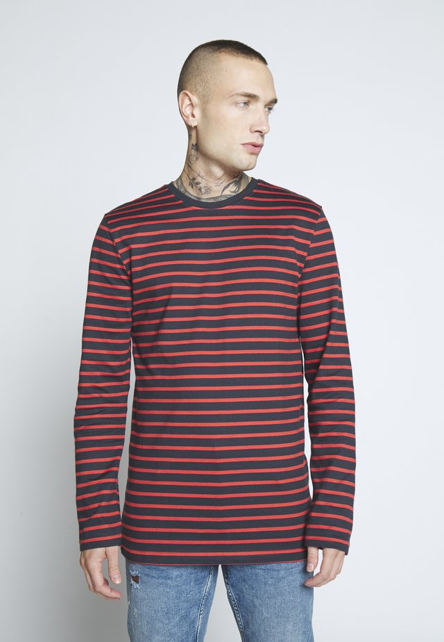 Long sleeved top - dark navy/pompeian red