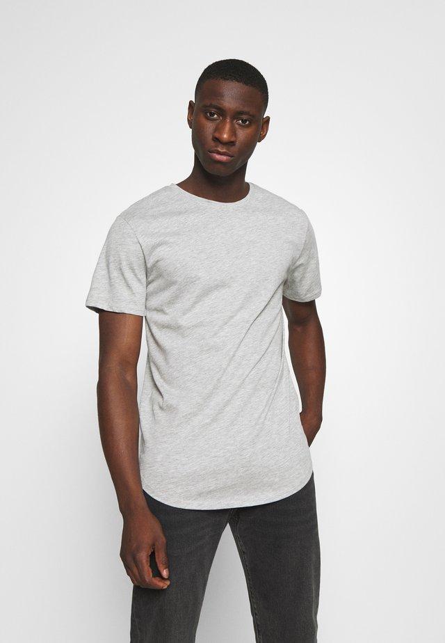 ONSMATT LONGY TEE 3 PACK - Basic T-shirt - light grey melange/white gray/black
