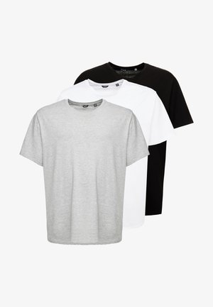 ONSMATT LONGY TEE 3-PACK - Basic T-shirt - white/black/light grey melange