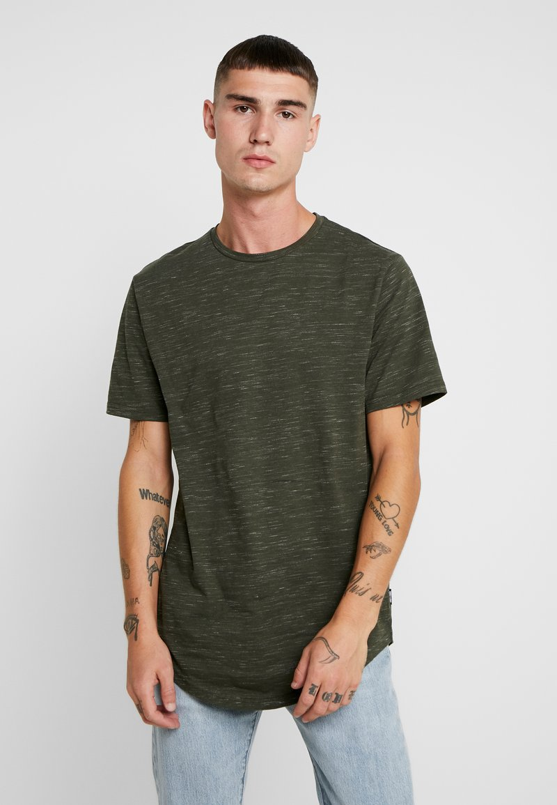 Only & Sons - ONSMATTY MELANGE LONGY TEE - T-shirts - forest night