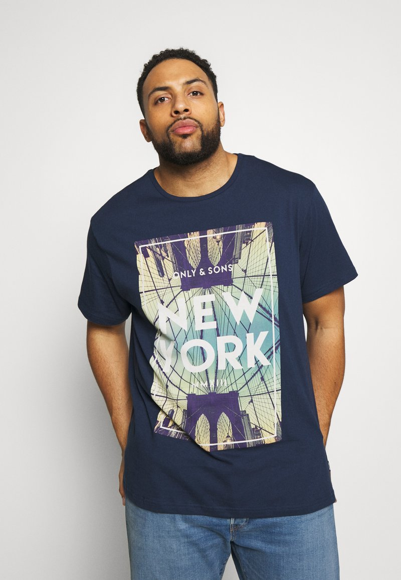 Only & Sons - ONSCALM TEE - Printtipaita - dress blues