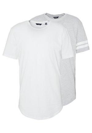 ONSMATT LONGY SOLID STRIPE 2 PACK - T-shirts med print - white