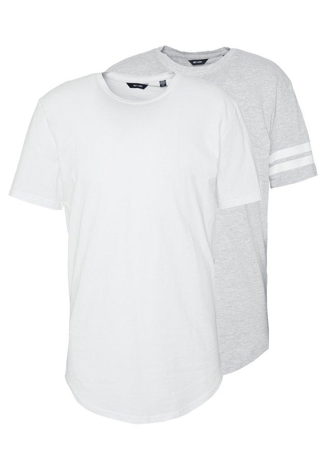 ONSMATT LONGY SOLID STRIPE 2 PACK - Printtipaita - white