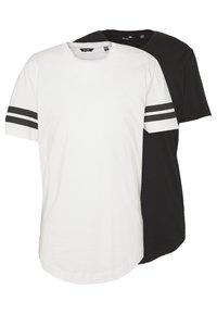 Only & Sons - ONSMATT LONGY SOLID STRIPE 2 PACK - T-shirts med print - black/white - 0