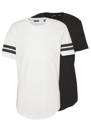 ONSMATT LONGY SOLID STRIPE 2 PACK - T-shirt basic - black/white