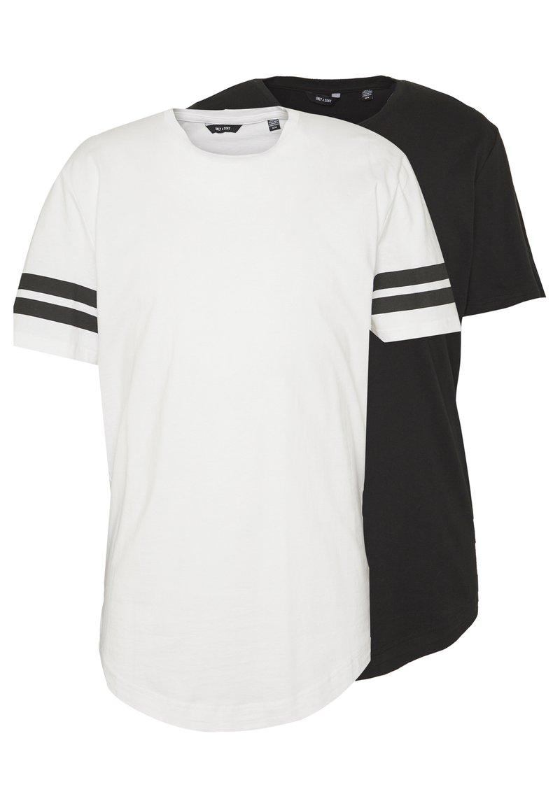 Only & Sons - ONSMATT LONGY SOLID STRIPE 2 PACK - T-shirts med print - black/white