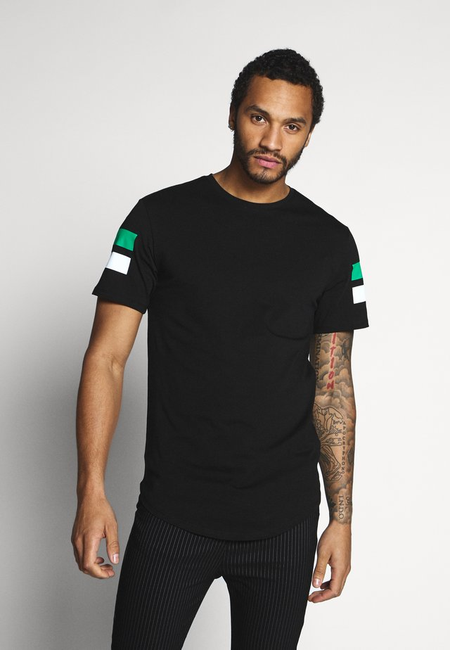 ONSSTRIPEY LONGY TEE - T-Shirt print - black