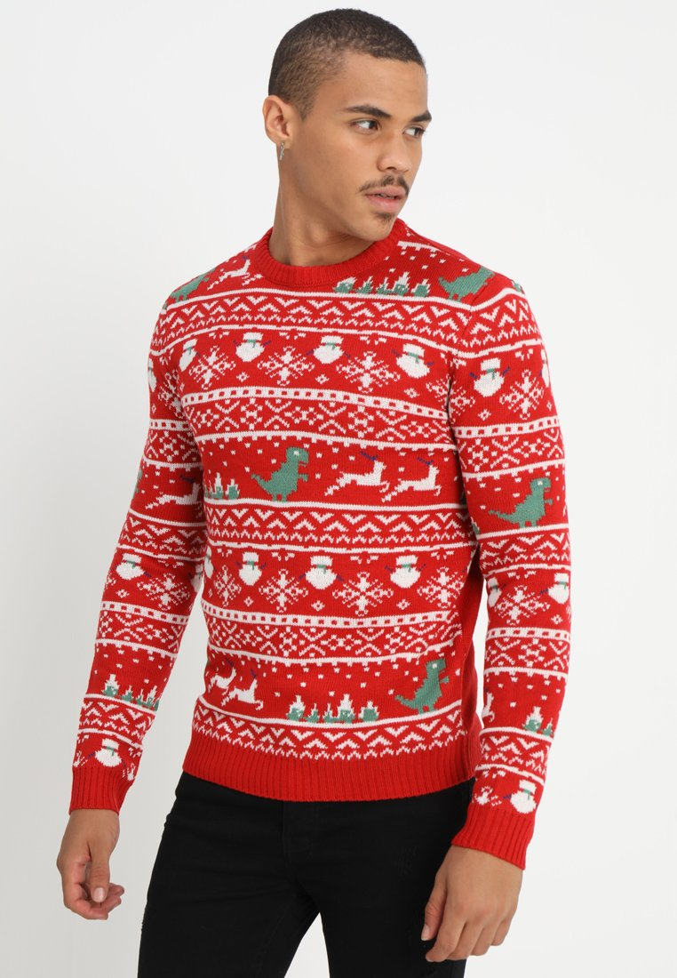 Only & Sons - ONSXMAS JAQUARD CREWKNIT - Strickpullover - haute red