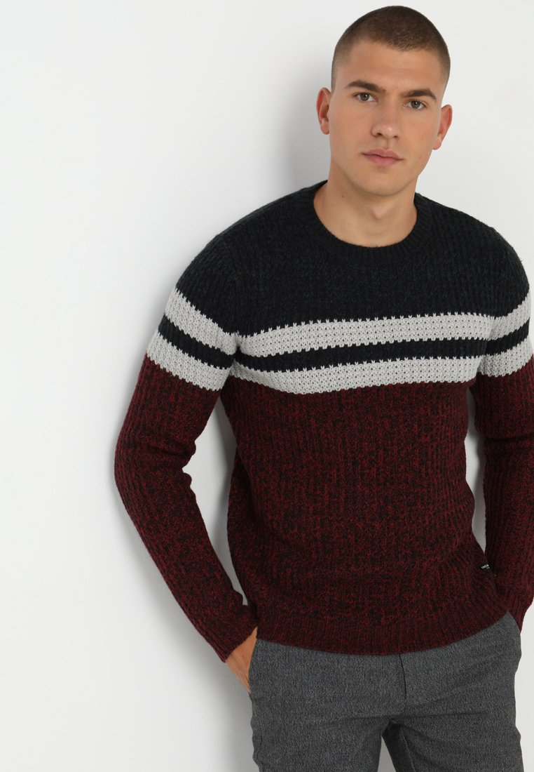 Only & Sons - ONSLAZLO STRIPED CREW NECK - Pullover - cabernet