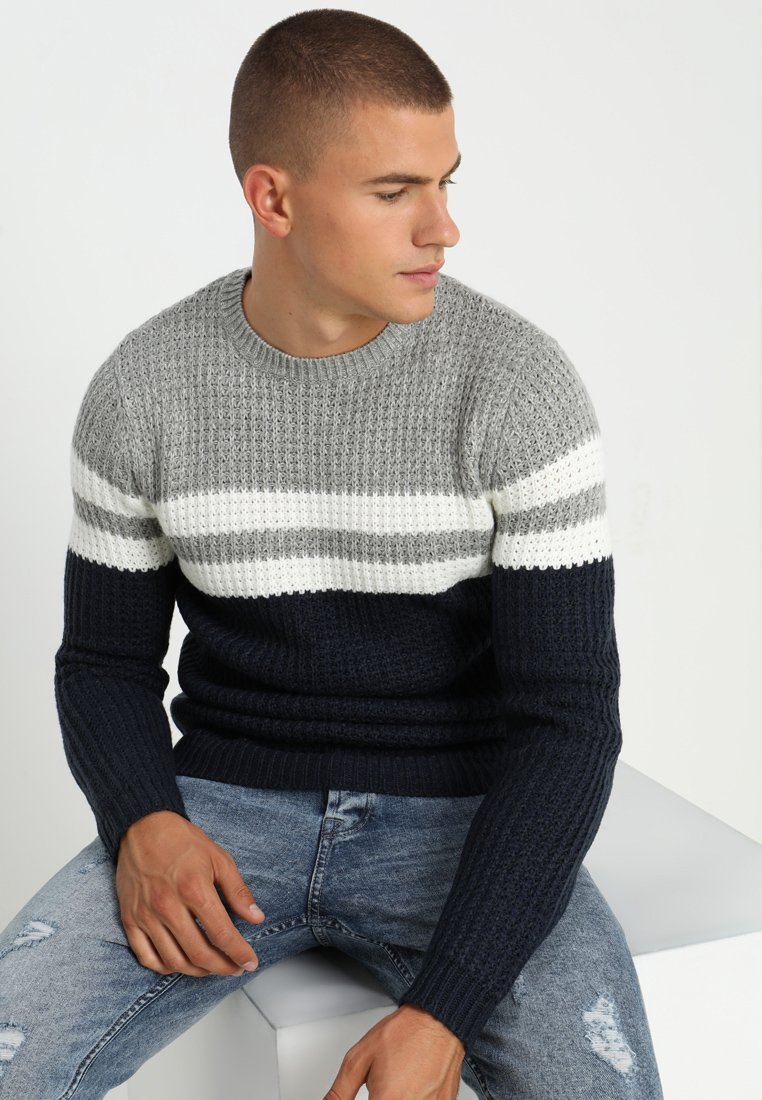Only & Sons - ONSLAZLO STRIPED CREW NECK - Sweter - blue nights