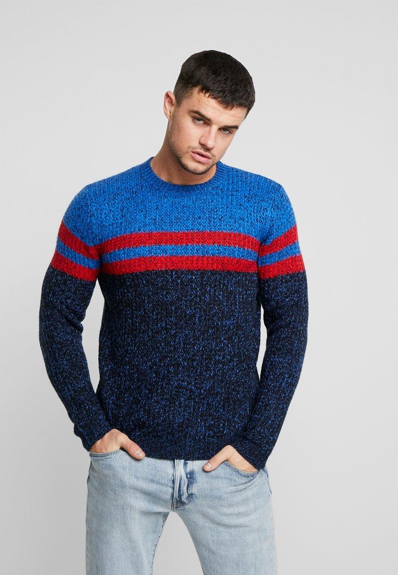 Only & Sons - ONSLAZLO STRIPED CREW NECK - Stickad tröja - baleine blue