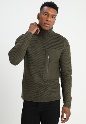 ONSKICK CABLE POCKET HIGH NECK - Jumper - forest night