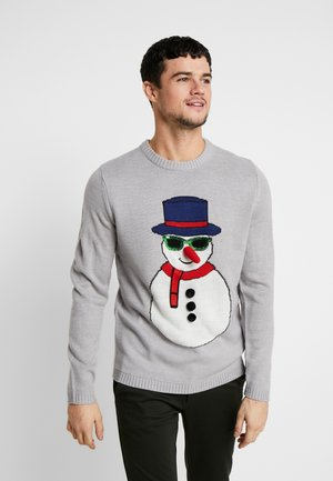 ONSXMAS FUNNY BADGE - Strikpullover /Striktrøjer - medium grey melange